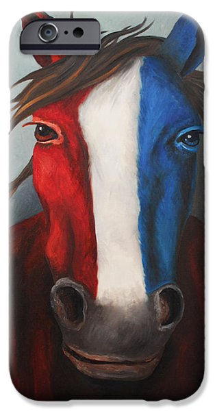 Independence Day Paintings iPhone Cases - American Spirit iPhone Case by Leah Saulnier The Painting Maniac