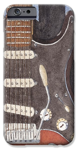 Fender Strat Paintings iPhone Cases - American Standard Two iPhone Case by Ken Powers