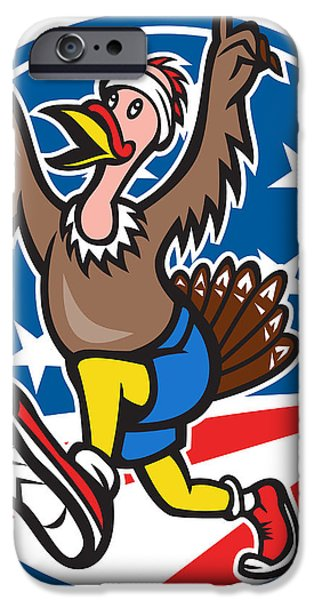 American Turkey Run Runner Cartoon iPhone Case by Aloysius Patrimonio