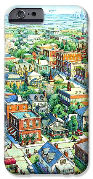 All American Drawings iPhone Cases - American Village iPhone Case by Dan Nelson