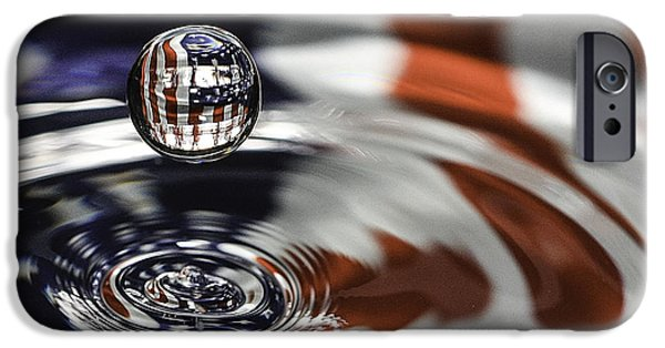 Flag iPhone Cases - American Water Drop iPhone Case by Betty Denise