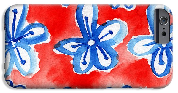 Red White And Blue Mixed Media iPhone Cases - Americana Celebration 2 iPhone Case by Linda Woods