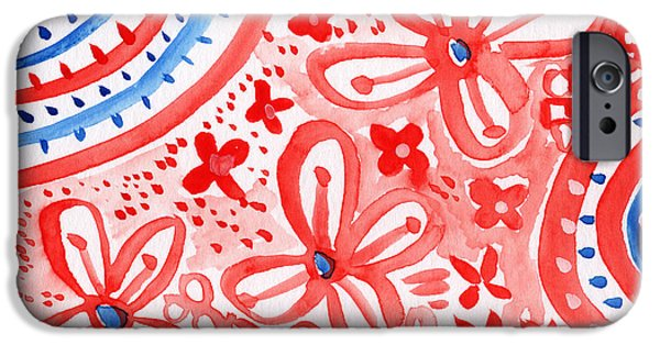Red White And Blue Mixed Media iPhone Cases - Americana Celebration- painting iPhone Case by Linda Woods