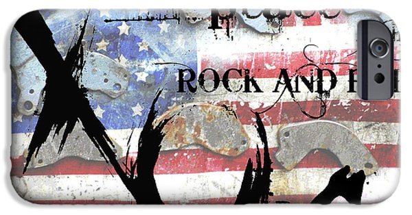 Juvenile Wall Decor iPhone Cases - Americana Love Peace and Rock and Roll iPhone Case by Anahi DeCanio