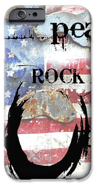 Americana Love Peace and Rock and Roll iPhone Case by Anahi DeCanio