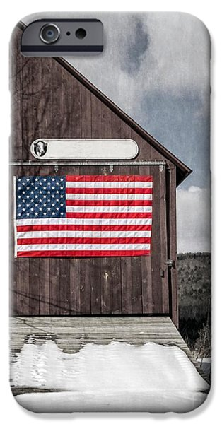 Tea Party iPhone Cases - Americana Patriotic Barn iPhone Case by Edward Fielding