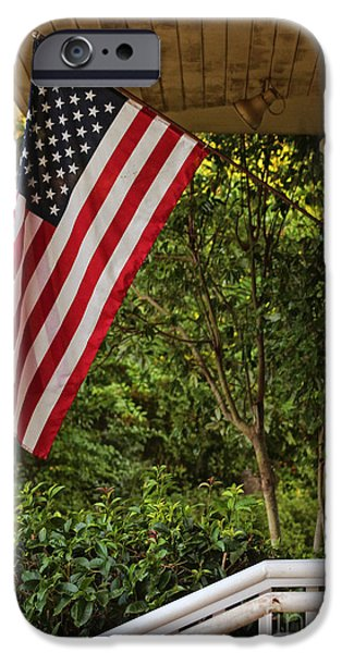 United States iPhone Cases - Americana Red White and Blue iPhone Case by Ella Kaye Dickey