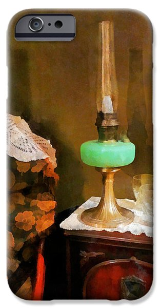 Hurricane Lamps iPhone Cases - Americana - Still Life With Hurricane Lamp iPhone Case by Susan Savad