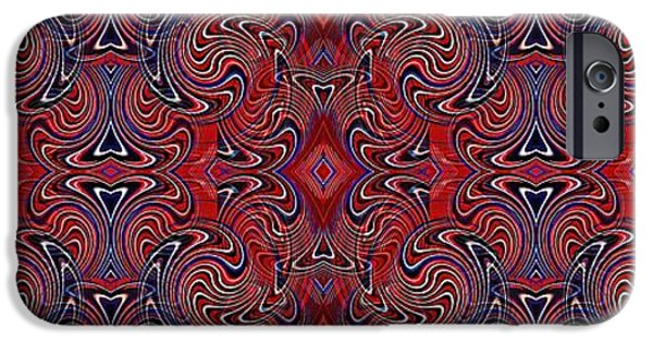 Fourth Of July iPhone Cases - Americana Swirl Banner 1 iPhone Case by Sarah Loft