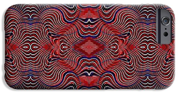 Fourth Of July iPhone Cases - Americana Swirl Banner 2 iPhone Case by Sarah Loft
