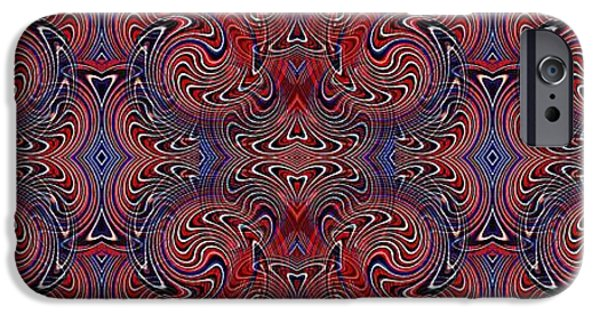 Fourth Of July iPhone Cases - Americana Swirl Banner 3 iPhone Case by Sarah Loft