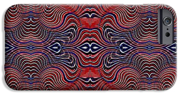 Fourth Of July iPhone Cases - Americana Swirl Banner 4 iPhone Case by Sarah Loft
