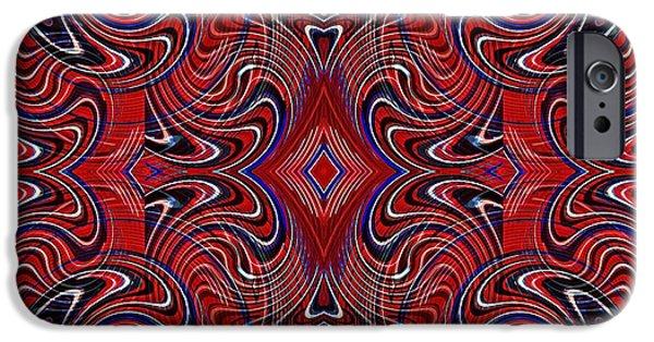 Memorial Day Digital Art iPhone Cases - Americana Swirl Design 1 iPhone Case by Sarah Loft