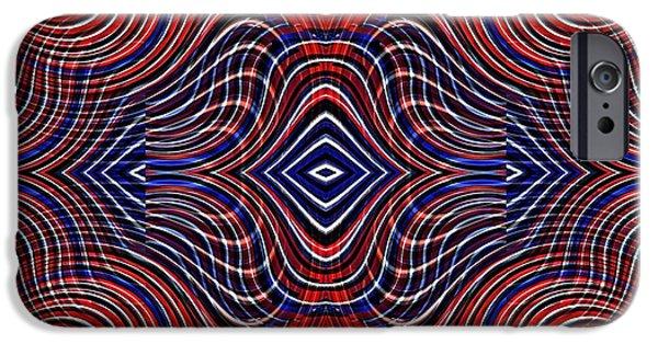 Memorial Day Digital Art iPhone Cases - Americana Swirl Design 11 iPhone Case by Sarah Loft