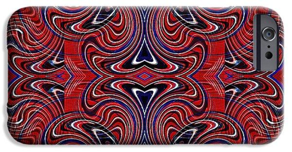 Memorial Day Digital Art iPhone Cases - Americana Swirl Design 3 iPhone Case by Sarah Loft