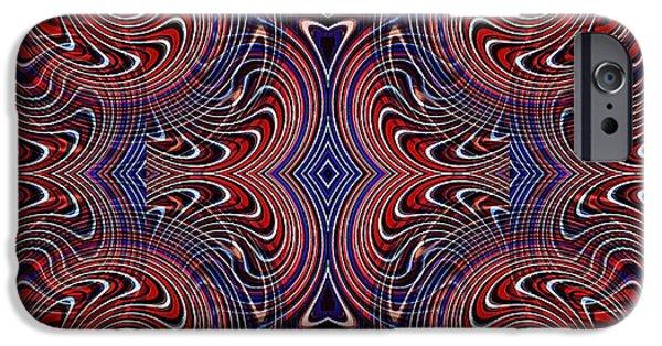 Memorial Day Digital Art iPhone Cases - Americana Swirl Design 4 iPhone Case by Sarah Loft