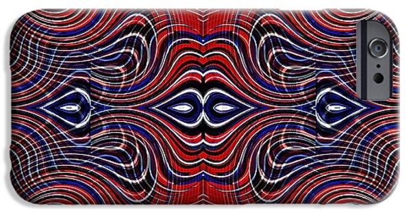 Memorial Day Digital Art iPhone Cases - Americana Swirl Design 6 iPhone Case by Sarah Loft