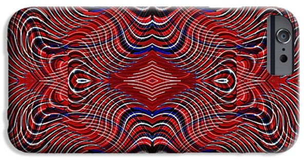 Memorial Day Digital Art iPhone Cases - Americana Swirl Design 7 iPhone Case by Sarah Loft