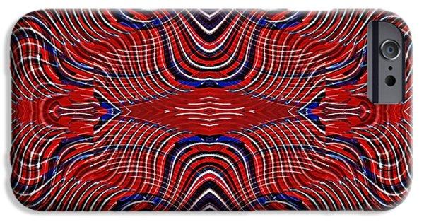 Memorial Day Digital Art iPhone Cases - Americana Swirl Design 9 iPhone Case by Sarah Loft