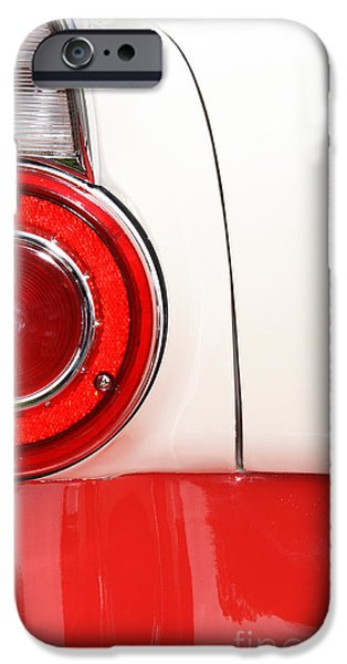 Shower Head iPhone Cases - Americana Tail Light - Vintage car in red and white iPhone Case by ArtyZen Studios - ArtyZen Home