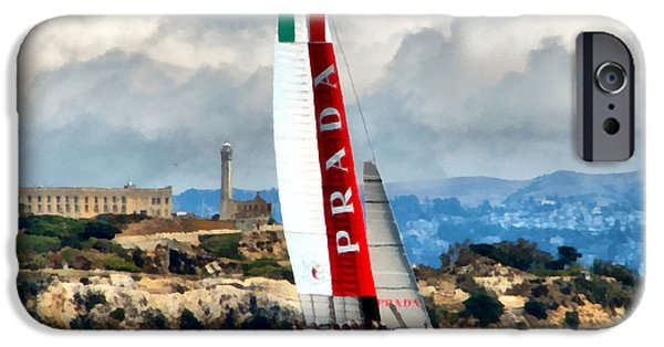 Alcatraz iPhone Cases - Americas Cup and Alcatraz ll iPhone Case by Michelle Calkins