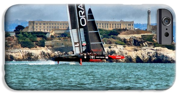 Alcatraz iPhone Cases - Americas Cup and Alcatraz iPhone Case by Michelle Calkins