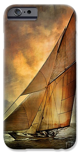 Sailboat Digital Art iPhone Cases - Americas Cup  iPhone Case by Andrzej Szczerski