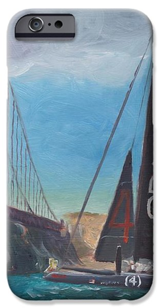 Americas Cup by the Golden Gate iPhone Case by James Lopez