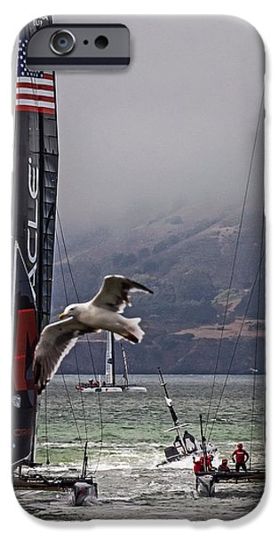 Racing iPhone Cases - Americas Cup Oracle Team USA v Artemis Racing iPhone Case by Kate Brown