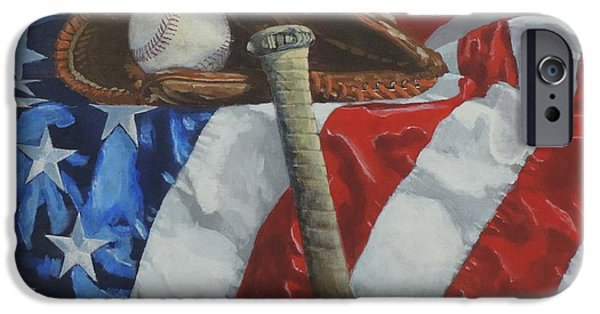 Baseball Glove iPhone Cases - Americas Game iPhone Case by Bill Tomsa