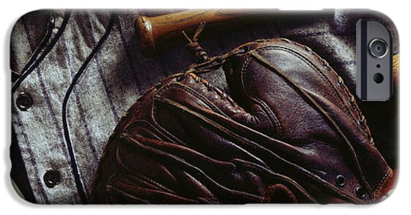 Baseball Glove iPhone Cases - Americas Past Time iPhone Case by Jon Neidert