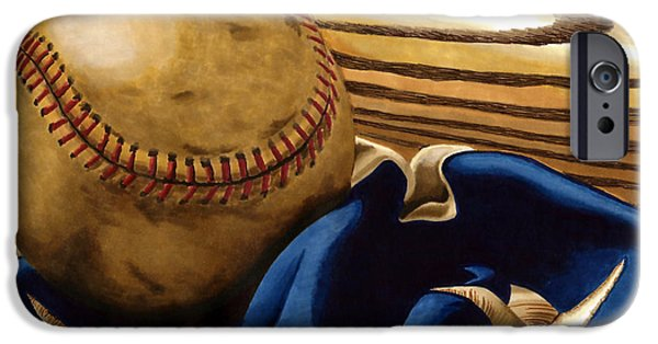Americana Drawings iPhone Cases - Americas Pastime 3 iPhone Case by Cory Still