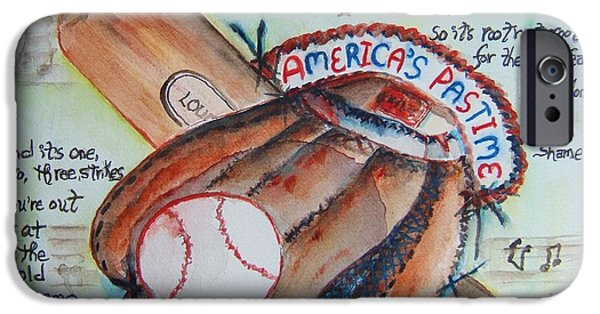 Baseball Glove iPhone Cases - Americas Pastime II iPhone Case by Elaine Duras