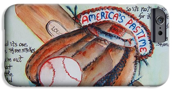Baseball Glove Paintings iPhone Cases - Americas Pastime I iPhone Case by Elaine Duras
