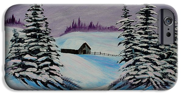 Bob Ross Paintings iPhone Cases - Amethyst Evening after Ross iPhone Case by Barbara Griffin