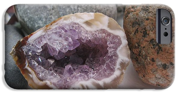 Print Jewelry iPhone Cases - Amethyst Geode and Rocks iPhone Case by Beth Beck