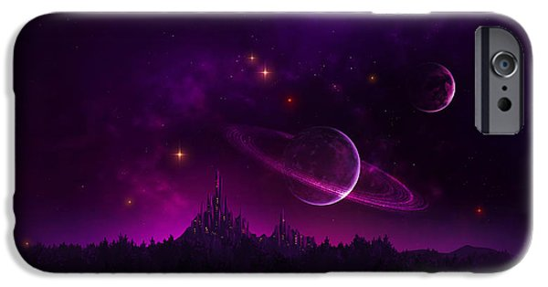 Phantasie iPhone Cases - Amethyst Night iPhone Case by Cassiopeia Art