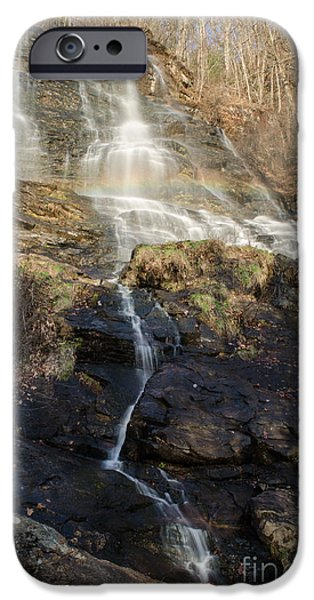 Red Rock iPhone Cases - Amicalola Falls  Rainbow iPhone Case by Donna Brown
