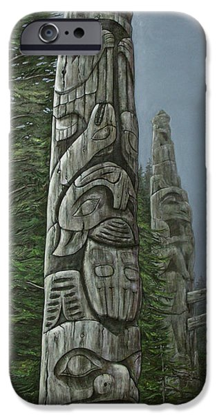 Forest Reliefs iPhone Cases - Amid The Mist - Totems iPhone Case by Elaine Booth-Kallweit