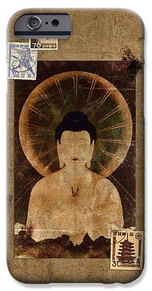 Buddhist iPhone Cases - Amida Buddha Postcard Collage iPhone Case by Carol Leigh