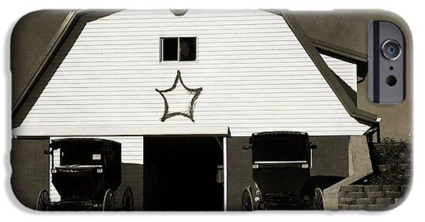 Amish Family iPhone Cases - Amish Barn And Buggies iPhone Case by Dan Sproul