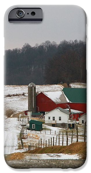 Red Barn In Winter iPhone Cases - Amish Barn In Winter iPhone Case by Dan Sproul