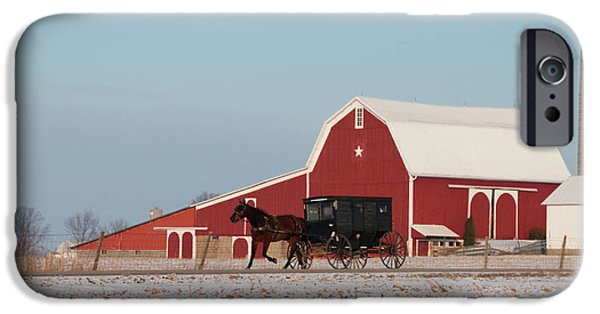 Best Sellers -  - Red Barn In Winter iPhone Cases - Amish Buggy and Red Barn iPhone Case by David Arment