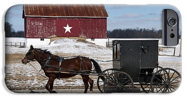 Horse And Buggy iPhone Cases - Amish Buggy and The Star Barn iPhone Case by David Arment