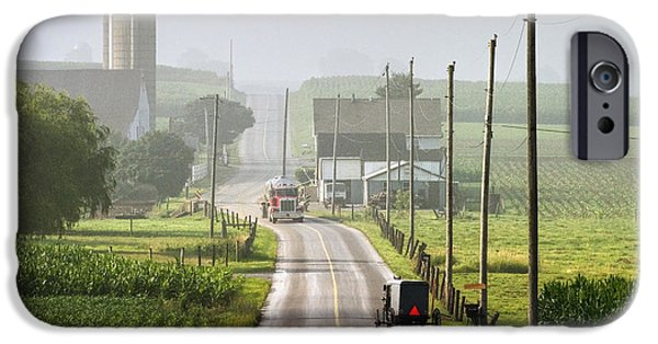 Amish Photographs iPhone Cases - Amish Buggy confronts the Modern World iPhone Case by Randall Nyhof