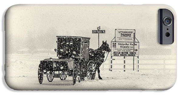 Amish Photographs iPhone Cases - Amish Buggy in Snow Storm iPhone Case by David Arment