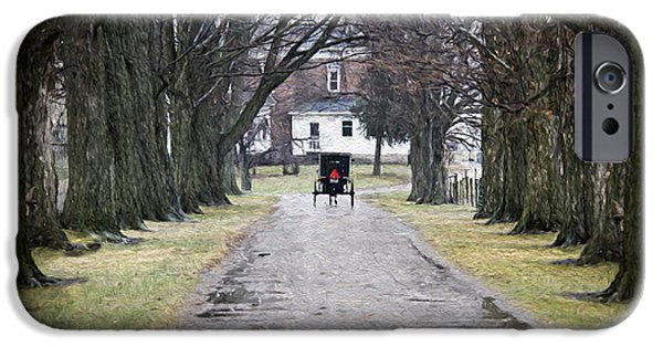 Rainy Day iPhone Cases - Amish Buggy January 2015 Impressionism Effects iPhone Case by David Arment