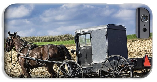 Amish Family iPhone Cases - Amish Buggy iPhone Case by John Greim