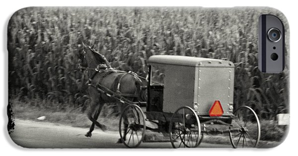 Horse And Buggy Digital iPhone Cases - Amish Buggy Monochrome iPhone Case by Terry Weaver