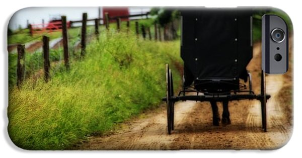 Horse And Buggy Photographs iPhone Cases - Amish Buggy On Dirt Road iPhone Case by Dan Sproul